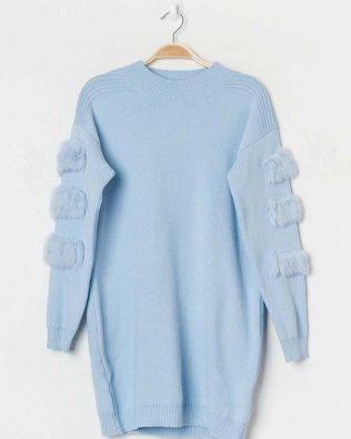 Svetrové šaty s kožušinkou