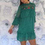 Zelené šaty Flounce