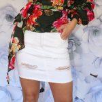 Riflová sukňa White