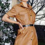 Kožené šaty brown
